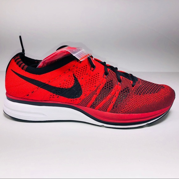 7dee23dc3c8ca Nike Flyknit Trainer University Red Black Sneakers
